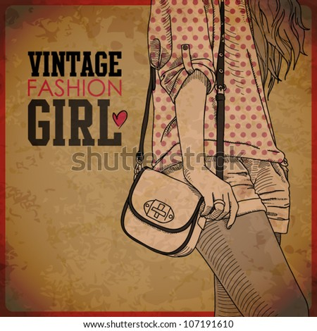 EPS10 vintage background with pretty young girl - stock vector