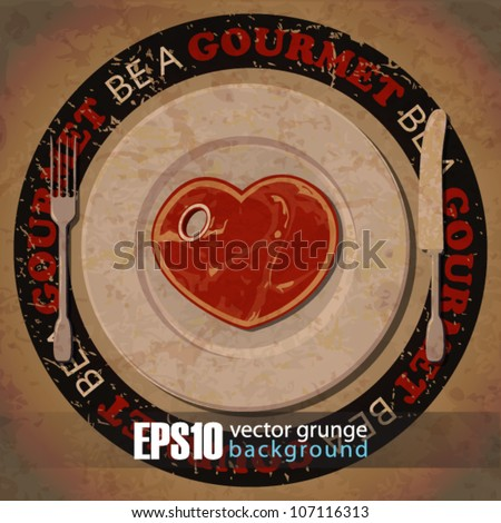 EPS10 vintage background with steak-heart