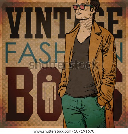 EPS10 vintage background with stylish autumnal dude - stock vector