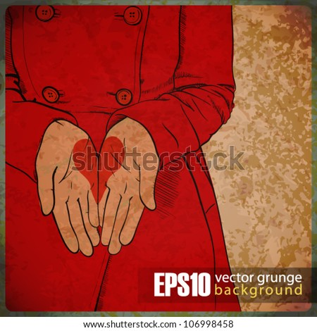 EPS10 vintage background with the girl in a red coat with the drawn heart in palms. - stock vector