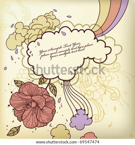 eps10 vintage frame with a single flower, drops, swirls and colorful clouds - stock vector
