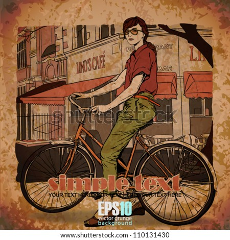 EPS10 vintage illustration with beautiful fashion girl with bicycle - stock vector