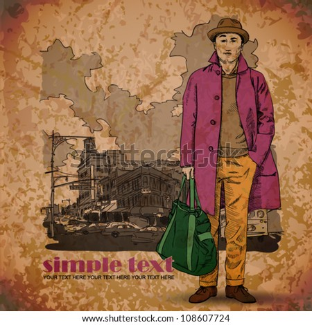 EPS10 vintage illustration with stylish young guy - stock vector