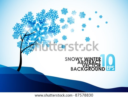 eps10, winter background, a tree in the snow - stock vector