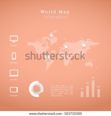 EPS10 world map illustration with cloud computing icon set and diagrams for infographics, presentation, report - orange version