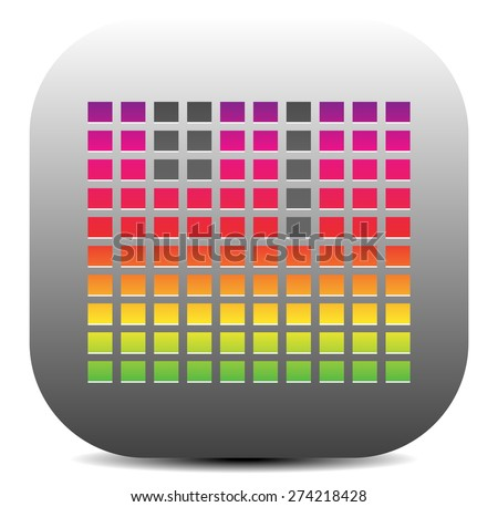 EQ, Equalizer icon with colorful bars. Graphics for audio, music concepts. - stock vector