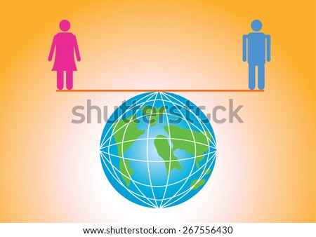 Equal man and woman sex equality gender balance - stock vector