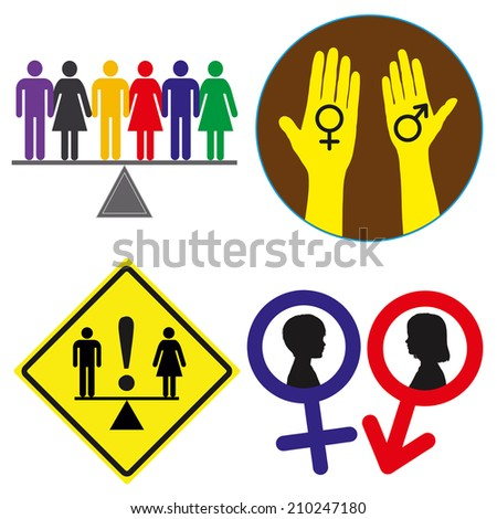 Equal Rights Concept Signs Demand Gender Stock Photo Photo Vector