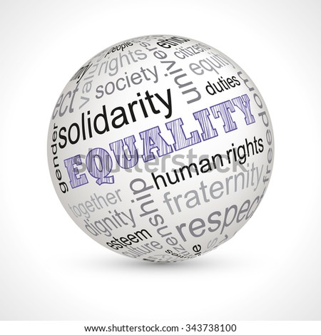 Equality theme sphere with keywords full vector