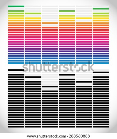 Equalizer (EQ) graphics. Black and white and gradient version. - stock vector