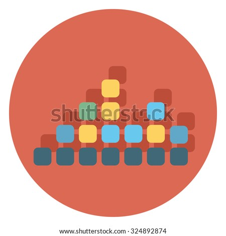 equalizer flat icon in circle - stock vector