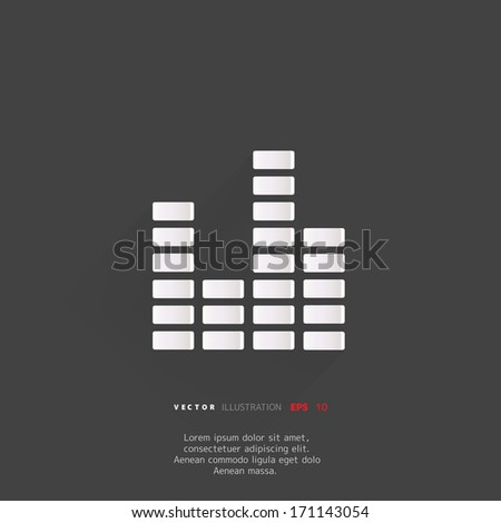 equalizer icon. Music sound wave symbol - stock vector