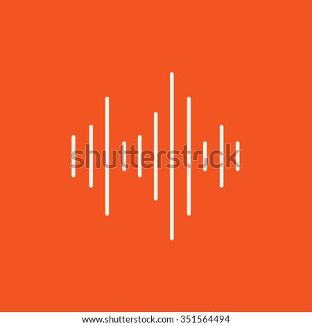 Equalizer line icon for web, mobile and infographics. Vector white icon isolated on red background. - stock vector
