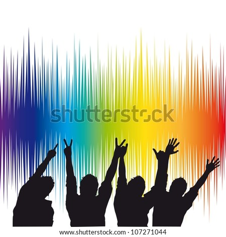 equalizer with silhouette men over white background. - stock vector
