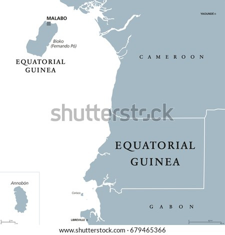 Equatorial guinea political map capital malabo stock vector equatorial guinea political map with capital malabo on bioko or fernando po island republic gumiabroncs Image collections