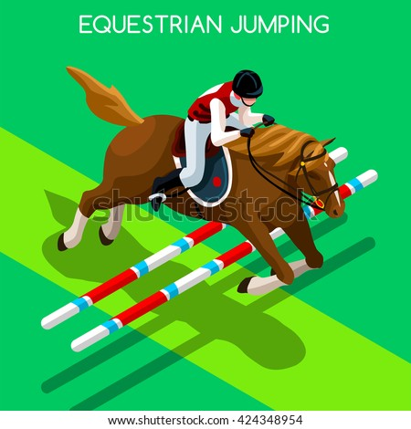 Equestrian Jumping Athletes 2016 Summer Games. 3D Isometric Athlete. Sporting Championship International Competition. Sport Infographic Equestrian Jumping olympics Vector Illustration Background - stock vector