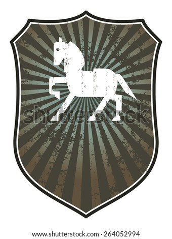 equestrian shield with horse, and copy space, and grunge style - stock vector