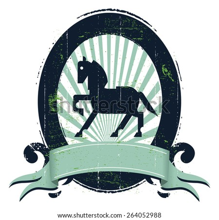 equestrian shield with horse icon banner copy space and stencil grunge style - stock vector