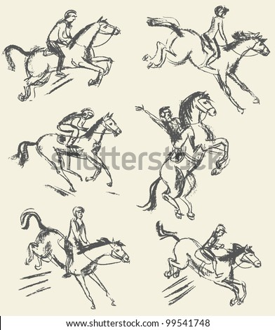 Equestrian sport - show jumping. Jockey riding a horse. Set. Hand-drawn. Vector illustration - stock vector