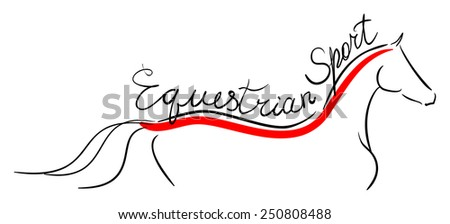 Equestrian sport. The line horse on white. Vector - stock vector