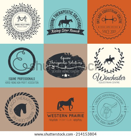 Equine vintage vector logo. Perfect horse related business symbols with antique texture. Premium quality ranch or equestrian business logotype. - stock vector