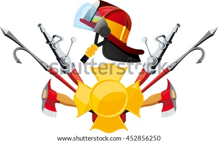 Equipment and tools deployed fireman with helmet in profile isolated on white backgrounds