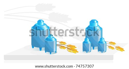 Equipment for food storage, two can and ears of wheat - stock vector