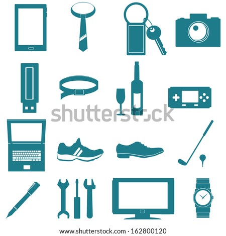 equipment for men icon on white background - stock vector