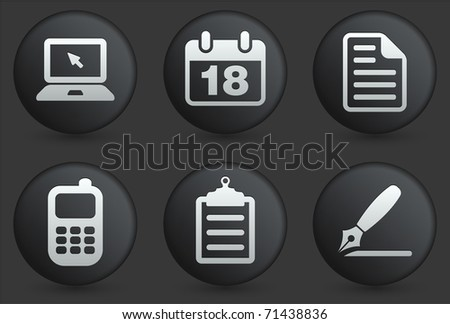 Equipment Icons on Black Internet Button Collection Original Illustration - stock vector