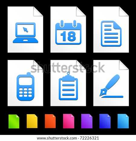 Equipment Icons on Colorful Paper Document Collection Original Illustration - stock vector