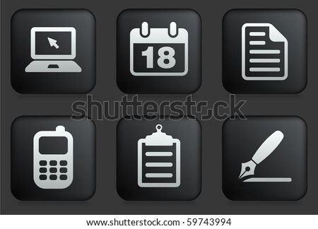 Equipment Icons on Square Black Button Collection Original Illustration - stock vector