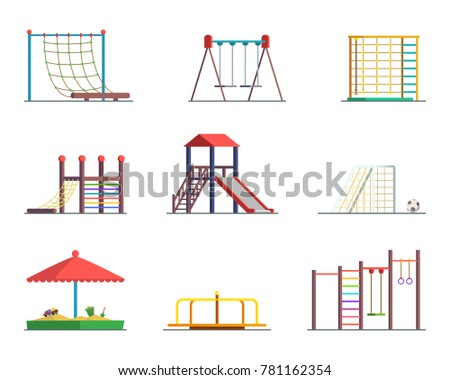 Equipment of amusement park. Playground isolated on white background. Vector seesaw and sandbox for kindergarten, sandpit and swing illustration