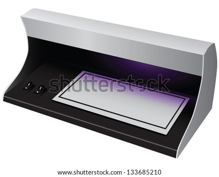 Equipment to detect fakes. Scanner banknotes. Vector illustration. - stock vector