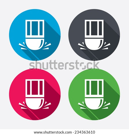Eraser icon. Erase pencil line symbol. Correct or Edit drawing sign. Circle buttons with long shadow. 4 icons set. Vector - stock vector