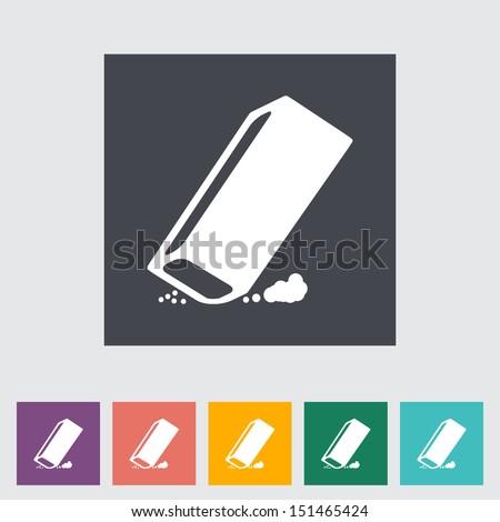 Eraser. Single flat icon. Vector illustration. - stock vector