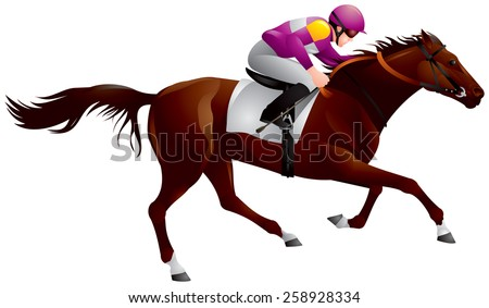 erby, Equestrian sport horse and rider in vector variant 6, Thoroughbred horse, gambling, The Sport of Kings - stock vector