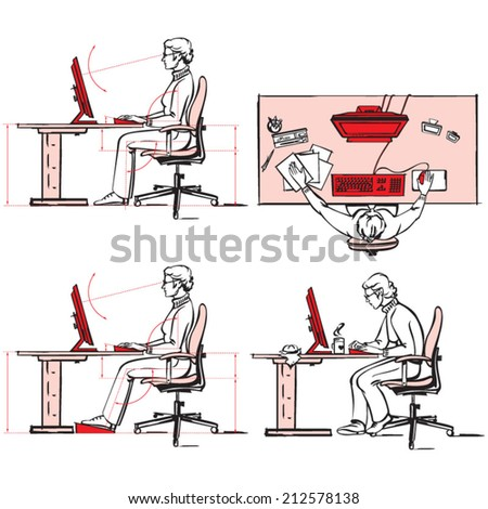 Ergonomic of computer workplace 2 - stock vector