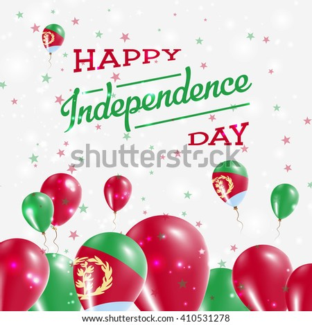 Eritrea Independence Day Patriotic Design. Balloons in Eritrean National Colors. Happy Independence Day Eritrea Vector Greeting Card.