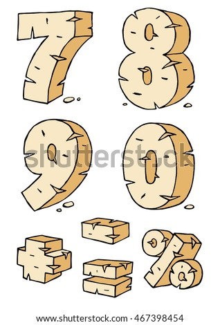 Eroded rock sandstone vector digits numbers font, from 7 to 0
