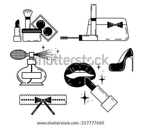 Erotic icon of ladies stuff. Make up and beauty symbol. - stock vector
