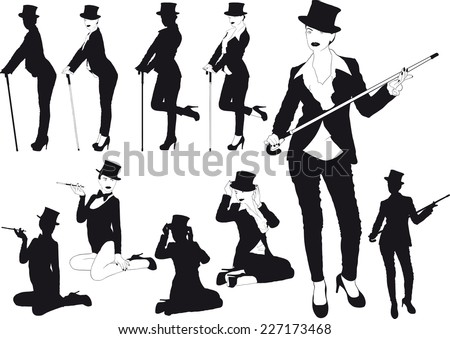 erotic silhouettes slim girl in hat with cane or cigarette - stock vector