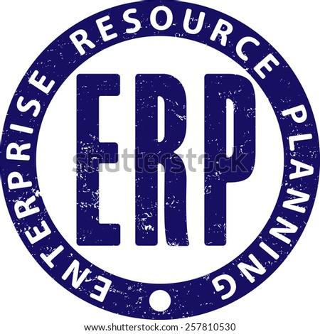 ERP (enterprise resource planning) rubber stamp - stock vector