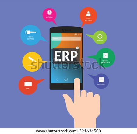 erp - enterprise resource planning using mobile technology on application - stock vector