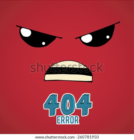 Error 404,angry face over  red color background - stock vector