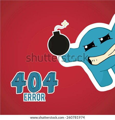 Error 404,displeased monster offset with bomb on red color background - stock vector