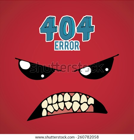 Error 404,furius  face over  red color background - stock vector