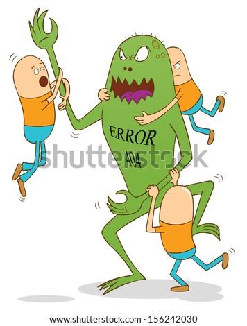 error 404 monster - stock vector