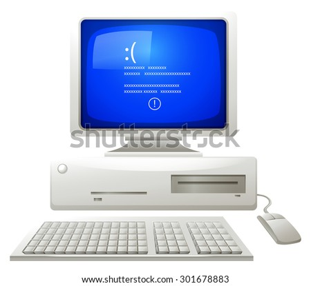 Error on old computer illustration