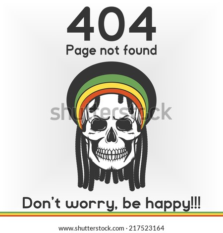 Error, page not found banner for web template, Rastafarian isolated vector skull with dreadlocks. - stock vector