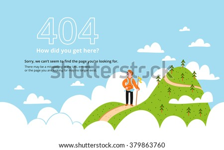 Error 404 page with a mountain, vector template - stock vector